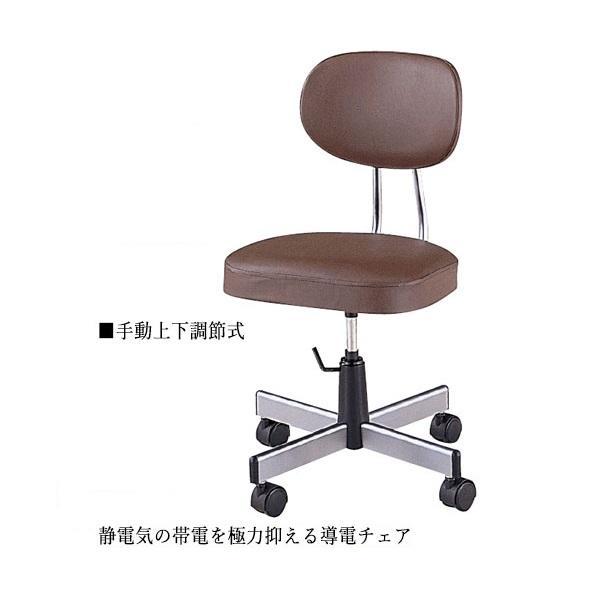 導電チェア 導電チェア 作業椅子 ワークチェア ミドルタイプ 背付 レザー張り キャスター付 ガス上下調節 NO-0630-1