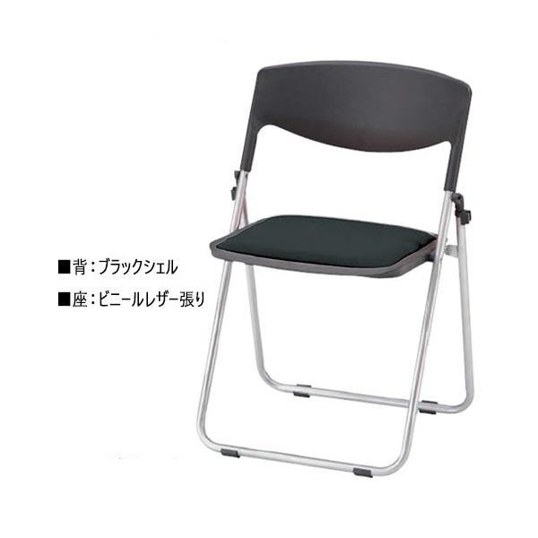 折り畳みチェア 1脚 パイプ椅子オフィスチェア 会議用チェア ミーティングチェア レザー張 レザー張 スチールパイプ フラット収納 グレー 灰色 NO-0948-1