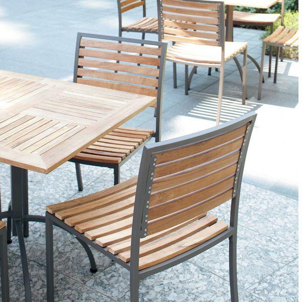 ガーデン家具木製天然木椅子業務用店舗ガーデンチェアスタッキング可dening