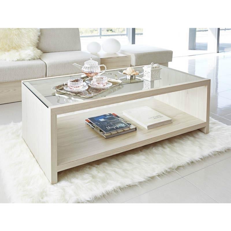 センターテーブル応接室リビングテーブル カフェ棚付ガラスローテーブル3色 kt-765