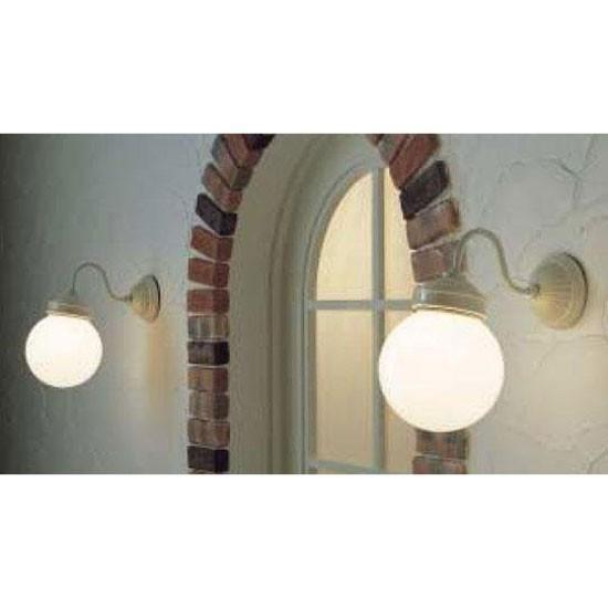 レトロデザイン レトロデザイン アンティーク風丸型陶器 屋外用壁面間接照明 LEDブラケットライト(ホワイト)mb50338-01-90