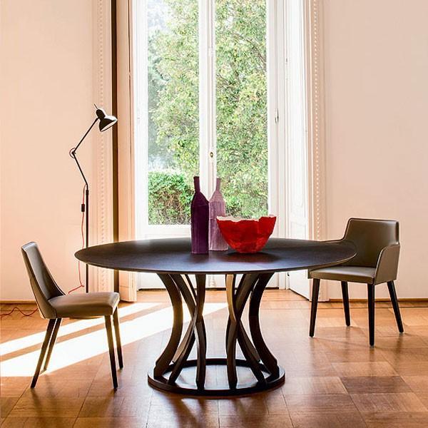ダイニングテーブル 天然オーク円形天板デザイナーズテーブルイタリアBross社製幅1.3mmut0167bd 天然オーク円形天板デザイナーズテーブルイタリアBross社製幅1.3mmut0167bd