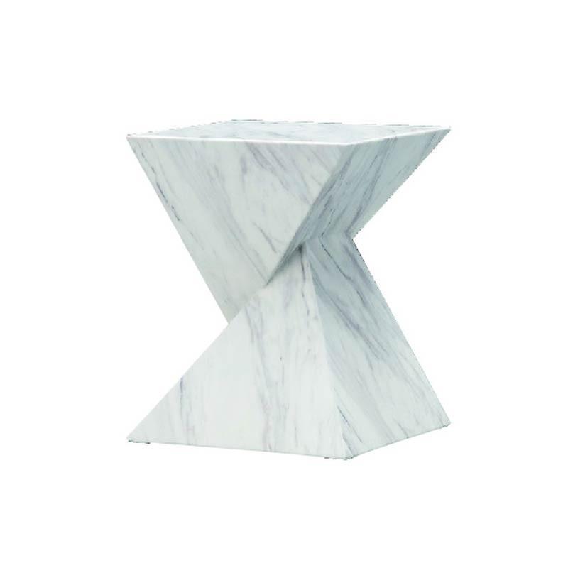 サイドテーブルモダン 人口大理石風仕上げテーブル リビングテーブル myt0573wh
