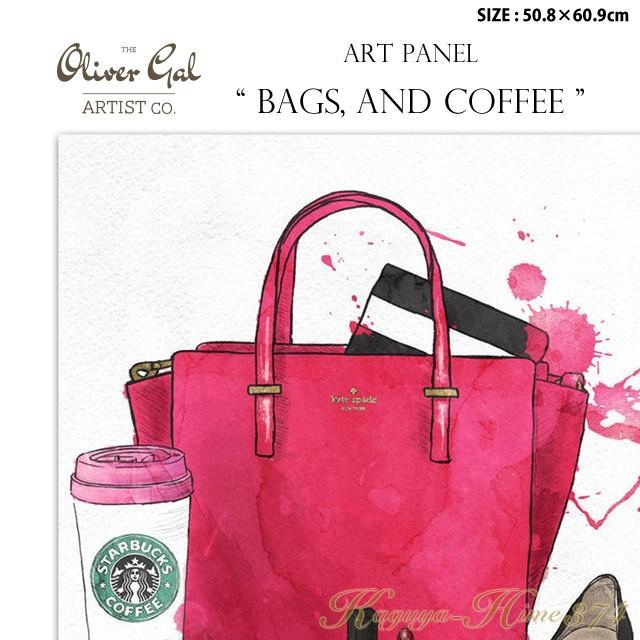 代引き不可 アートパネル「BAGS, 代引き不可 アートパネル「BAGS, AND COFFEE」サイズ50.8×60.9cm ファッションの絵画 ポップアート