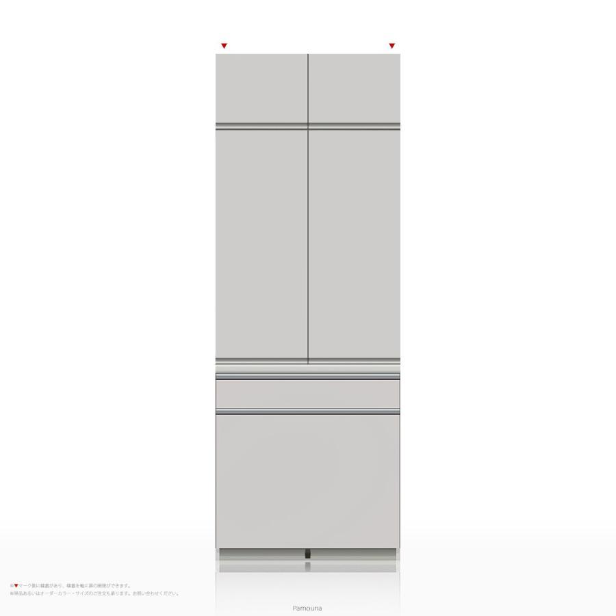 上棚付き食器棚 キッチンボード Pamouna(パモウナ) KLシリーズ KL-801K [開き扉] (幅800cm, 奥行き50cm, パールホワイト)