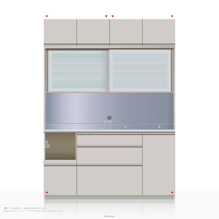 上棚付き食器棚 キッチンボード Pamouna(パモウナ) MEシリーズ MEL-S1600R [引き戸 (スライド式扉)] (幅160cm, 奥行き45cm, 左側家電収納, シルキーアッシュ色)