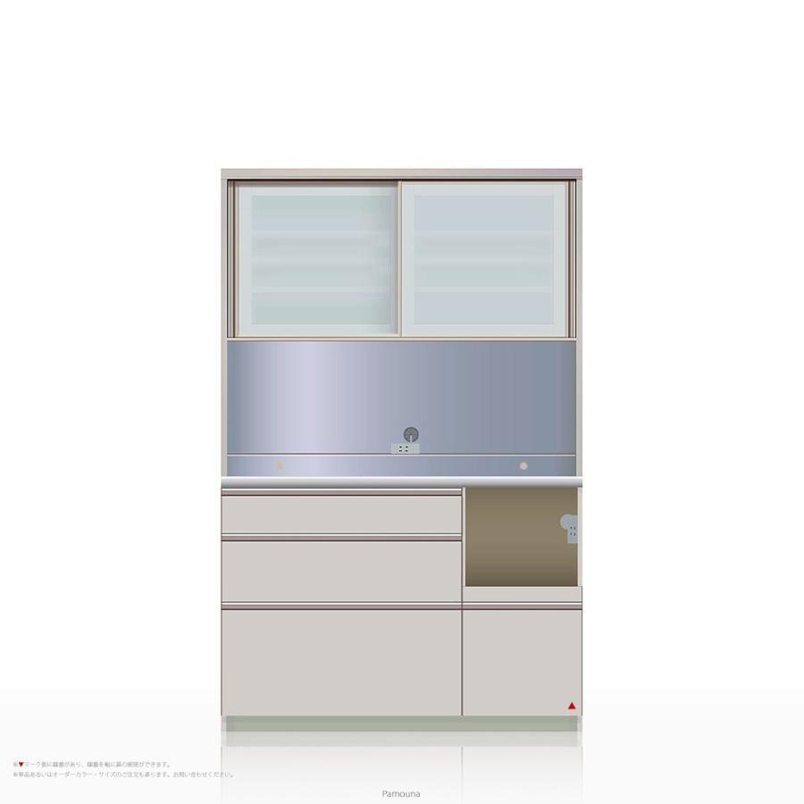 食器棚 Pamouna(パモウナ) MEシリーズ MER-1200R [引き戸 (スライド式扉)] (幅120cm, 奥行き50cm, 右側家電収納, シルキーアッシュ色)