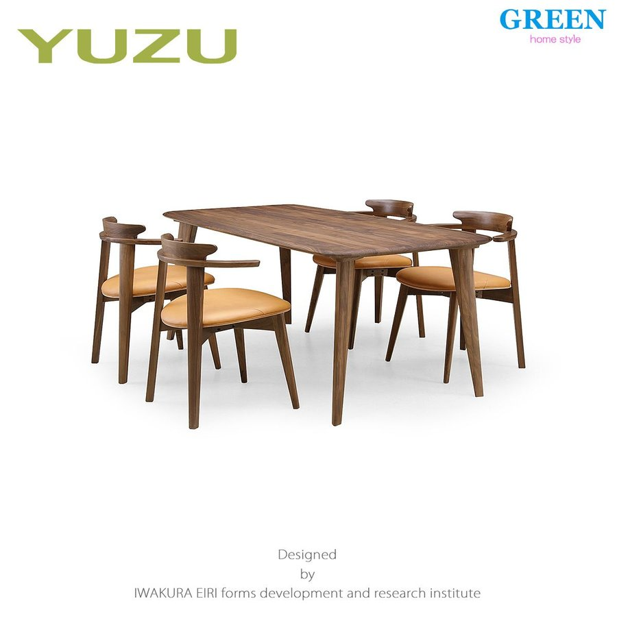 35%OFF [5点セット] (グリーン ホームスタイル ユズ ダイニングテーブル B180 チェア D) ダイニングセット 岩倉榮利 (テーブル幅180cm, ウォールナット材)
