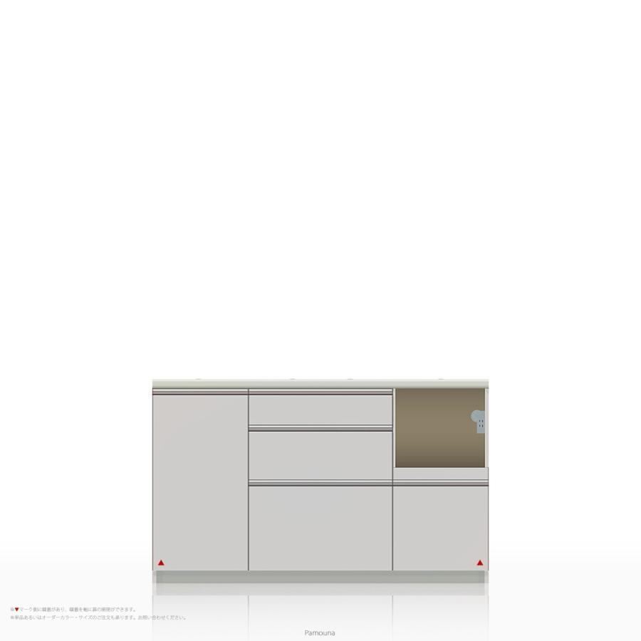 キッチンカウンター/食器棚の下台 Pamouna(パモウナ) WL/KLシリーズ WL/KLシリーズ WLR-1400R (幅140cm, 奥行き50cm, 右側家電収納, パールホワイト)