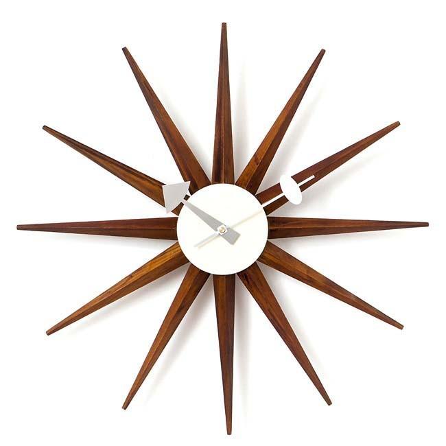 ジョージネルソン サンバーストクロック ブラウン ネルソンクロック 掛け時計 ウッドブラウン kagz