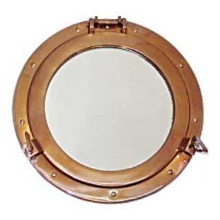 真鍮製 丸窓 鏡L アンティーク加工