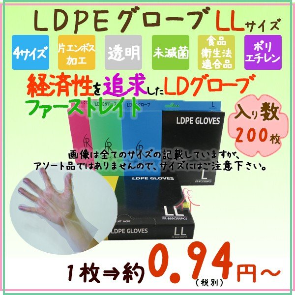 LDグローブ LLサイズ FR-869 LDPEグローブ 200枚×40小箱×4ケース