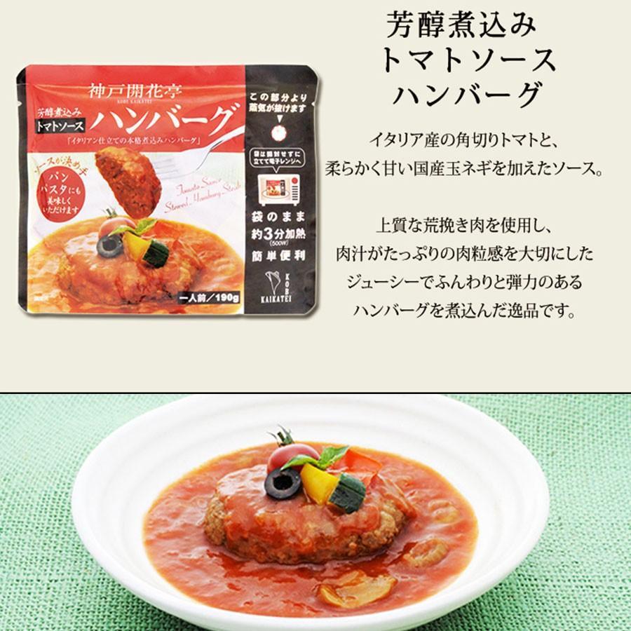 煮込み ハンバーグ トマトソース 1人前 190g 神戸開花亭 レトルト ポイント消化 のし・包装不可 kaikatei 02