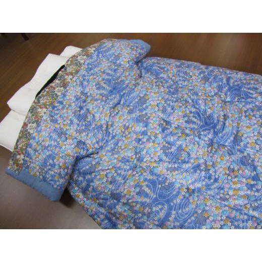 日本製 手作りかいまき掛布団 綿混わた入り定番品 小花柄青(#1297柄) 送料無料 和風寝具 どてら 夜着