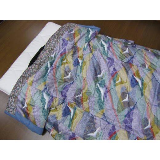 手作りかいまき掛布団 純綿わた薄がけ 鶴の柄 送料無料 日本製 和風寝具 どてら 夜着
