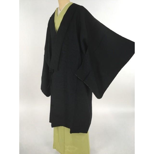 着物 美品 逸品 道中着 黒 絞り 検針済み カジュアル 正絹 身丈111cm 裄丈72cm リサイクル バイセル PK70