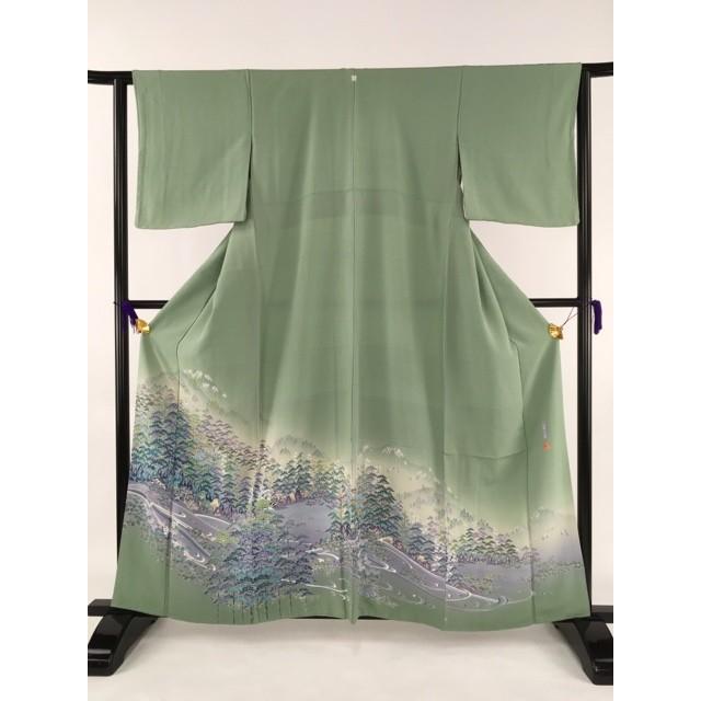 激安通販 美品 名品 色留袖 薄緑色 一つ紋 落款有 風景 遠山 流水 正絹 袷身丈160cm 裄丈62.5cm リサイクル バイセル PK50, 飯南郡 7397bdc9