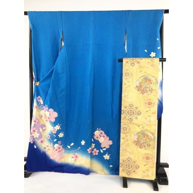 着物 名品 振袖 水色 草花 くす玉 桜 疋田文 袋帯セット 正絹 袷 170cm Lサイズ リサイクル バイセル