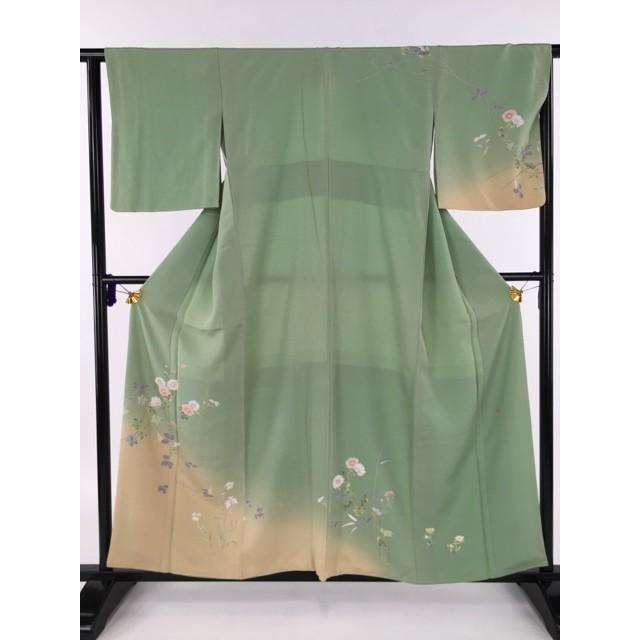 【史上最も激安】 着物 美品 名品 薄緑 訪問着 薄緑 名品 落款有 菊 バイセル 鷺草 ぼかし 友禅風 正絹 袷 156cm Mサイズ リサイクル バイセル, SuperSportsXEBIO:8764df84 --- chizeng.com