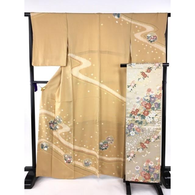 着物 美品 名品 訪問着 薄オレンジ 袋帯セット 雪輪 椿 金彩 正絹 袷 165.5cm Mサイズ リサイクル バイセル