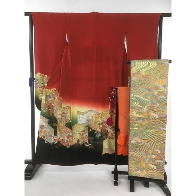 名品 振袖 赤 幾久重袖 御所車 金彩 銀彩 袋帯フルセット 正絹 身丈157.5cm 裄丈63cm リサイクル バイセル