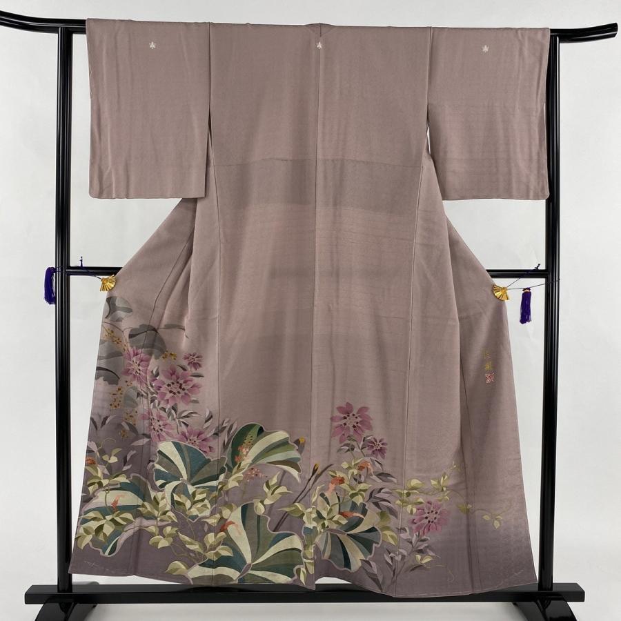 満点の 色留袖 美品 名品 落款あり 三つ紋 良樹 草花 金彩 薄紫 袷 身丈154.5cm 裄丈62cm S 正絹 【】, お庭の玉手箱 24374fb7