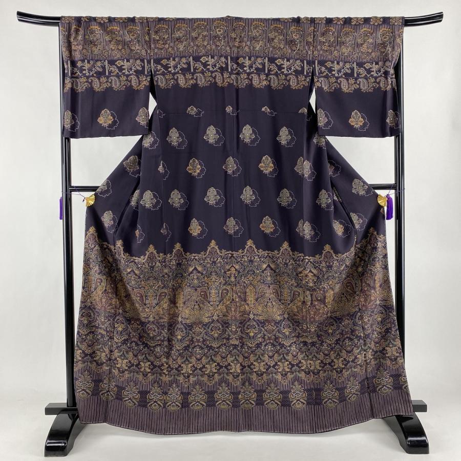 訪問着 美品 逸品 草花 縞模様 刺繍 汕頭刺繍 濃紫 袷 身丈166cm 裄丈68cm L 正絹 中古