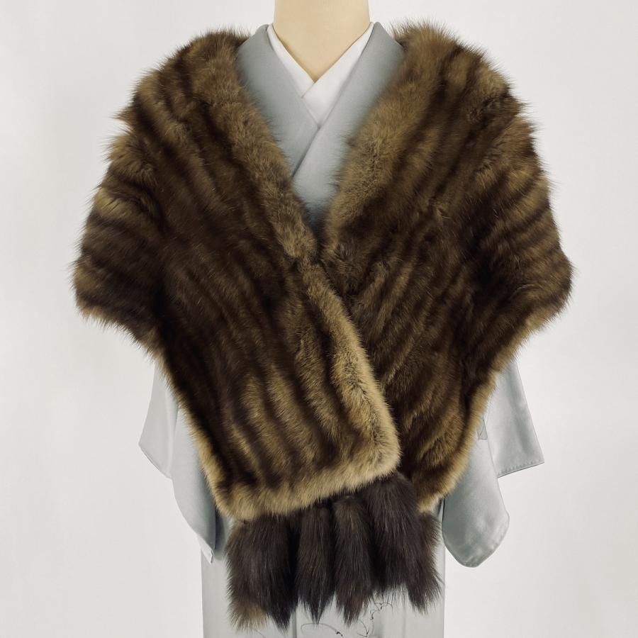 着物ショール 美品 逸品 SOBOL 毛皮 RUSSIAN SABLE 茶色 和装小物  中古