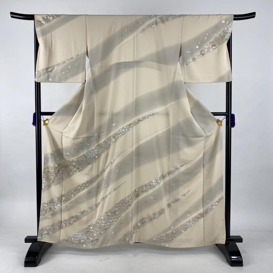 訪問着 逸品 宝尽くし 松竹梅 金糸 刺繍 クリーム 袷 身丈163.5cm 裄丈67.5cm L 正絹 中古