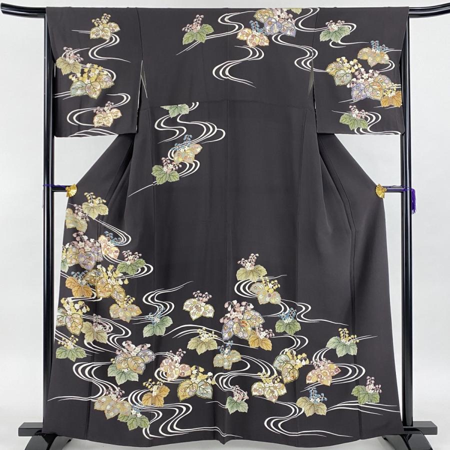 訪問着 美品 逸品 桐 流水 金糸 金彩 灰紫 袷 身丈161.5cm 裄丈66cm M 正絹 中古