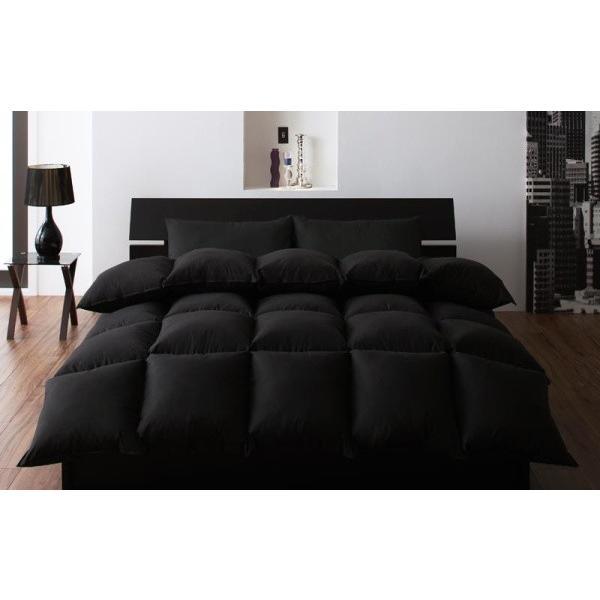 羽根布団セット 和タイプ10点(羊毛入り敷布団の厚さ15cmタイプ) ダブル 色-ブラック