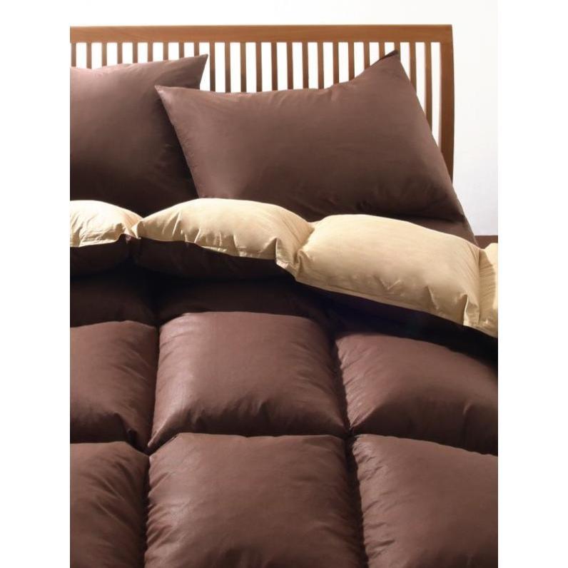 フランス産フェザー100% 羽根布団セット ベッド用10点 キング 色-ブラウンベージュ