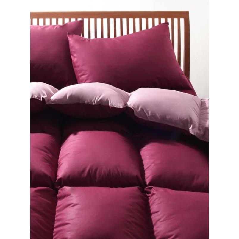 フランス産フェザー100% 羽根布団セット ベッド用10点 キング 色-リュクスボルドー