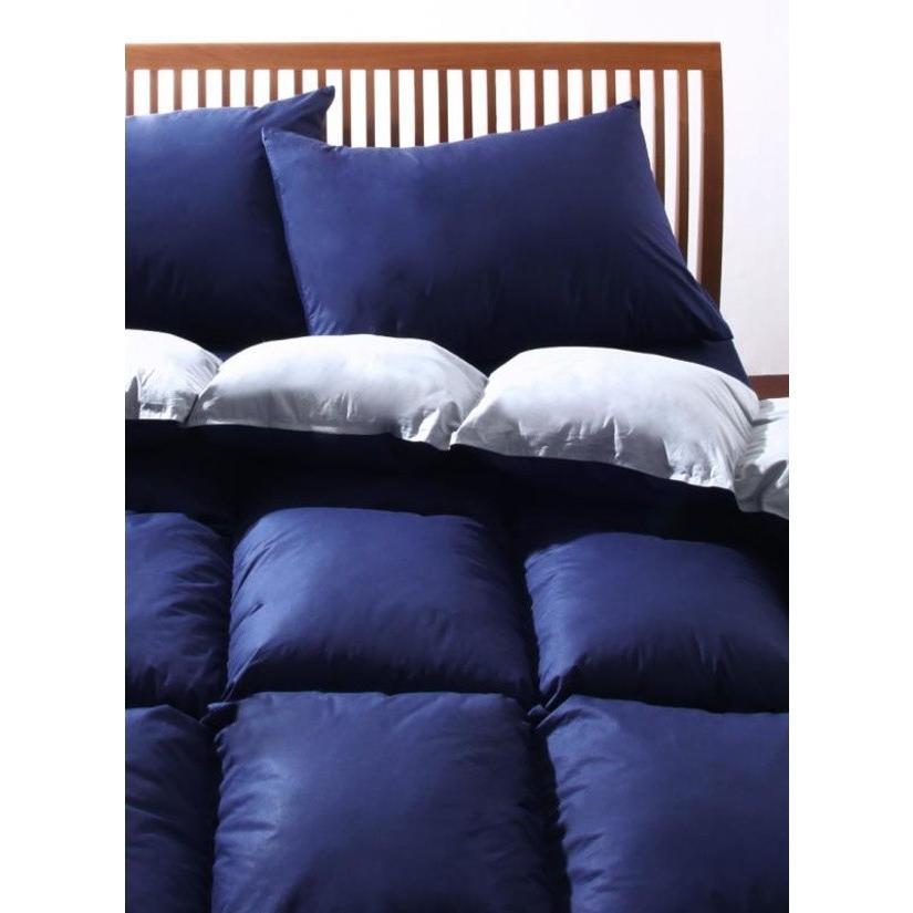 フランス産フェザー100% 羽根布団セット ベッド用10点 キング 色-ラピスネイビー