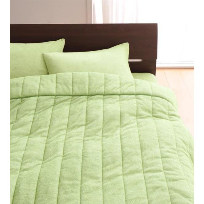 タオル地 タオルケット と 敷きパッド 敷きパッド 敷きパッド のセット クイーン 色-ペールグリーン /綿100%パイル 83d