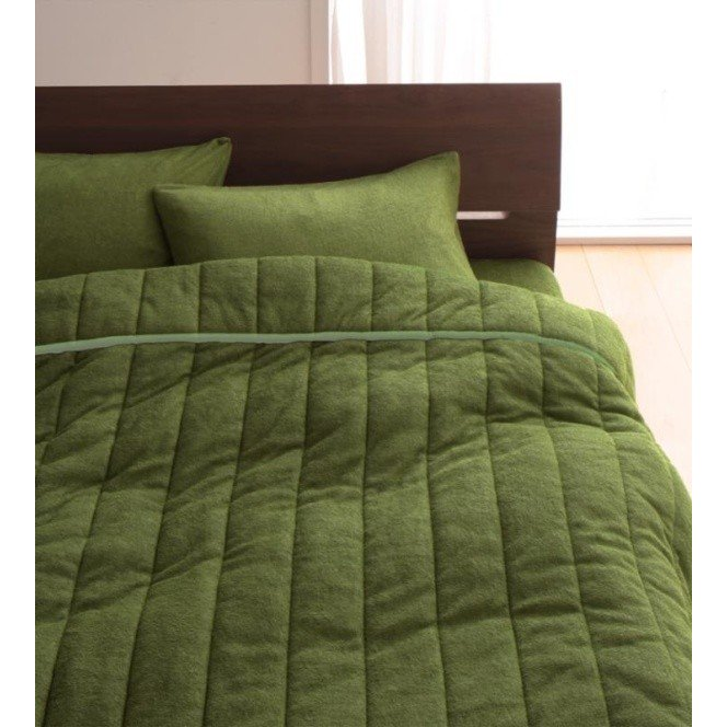 タオル地 タオルケット と 敷きパッド一体型ボックスシーツ のセット クイーン 色-オリーブグリーン /綿100%パイル