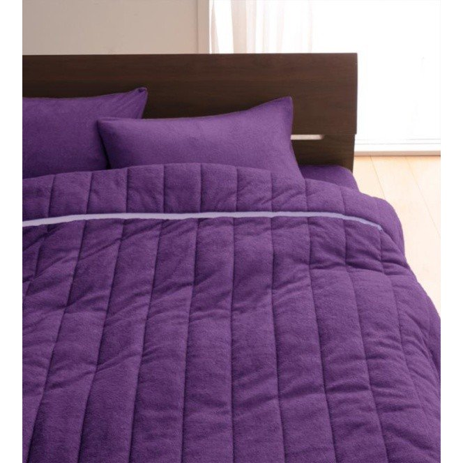 タオル地 タオルケット と 敷きパッド一体型ボックスシーツ のセット クイーン 色-ロイヤルバイオレット /綿100%パイル