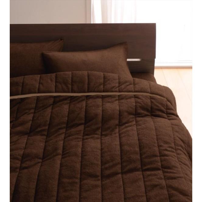 タオル地 タオルケット と ベッド用ボックスシーツ のセット クイーン 色-モカブラウン /綿100%パイル