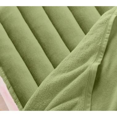 マイクロファイバー 厚い 敷きパッド一体型ボックスシーツ の単品(マットレス用) ファミリー 色-モスグリーン