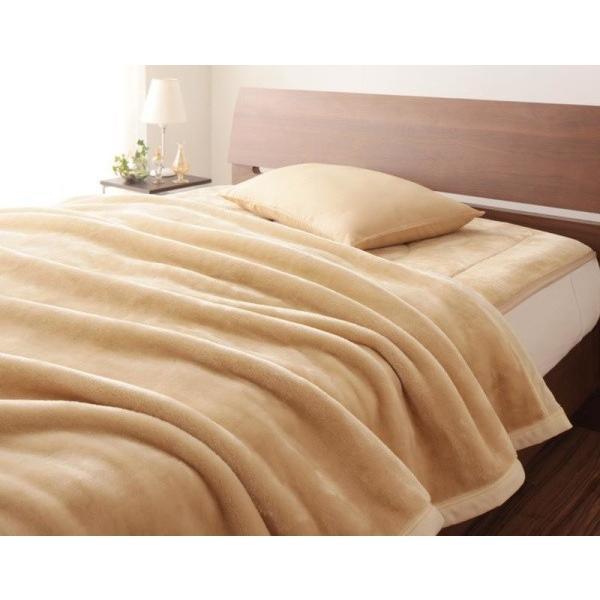 マイクロファイバー プレミアム 厚い 毛布 と 敷きパッド のセット キング 色-ナチュラルベージュ /発熱わた入り