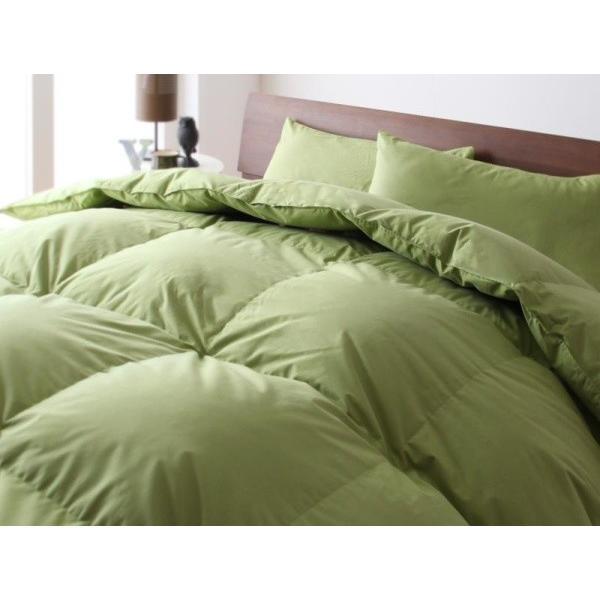 ダックダウンタイプ 羽毛布団セット ベッド用8点 セミダブル 色-モスグリーン