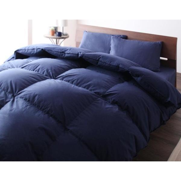 グースダウンタイプ 羽毛布団セット 和タイプ8点 シングル 色-ミッドナイトブルー