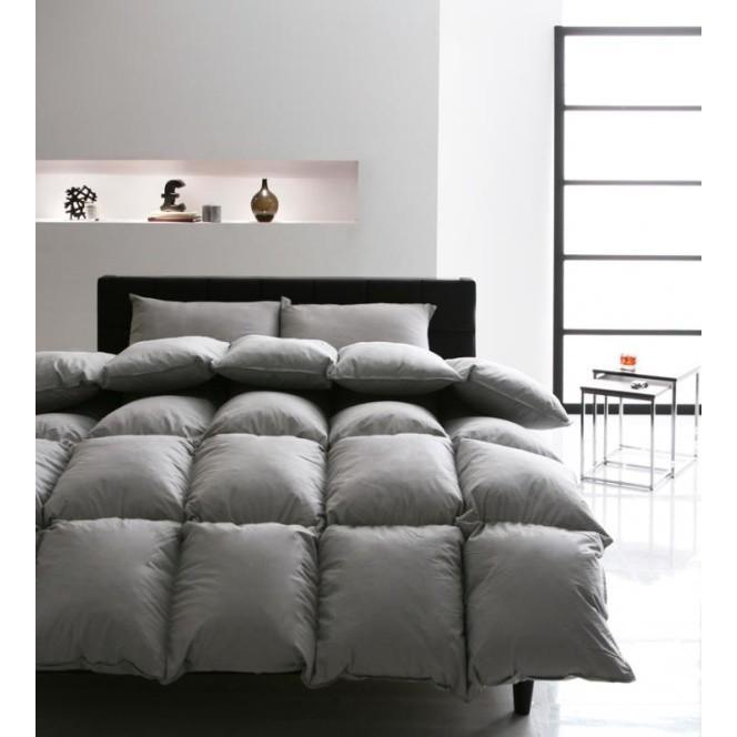 グースダウンタイプ 羽毛布団セット ベッド用8点 シングル 色-シルバーアッシュ