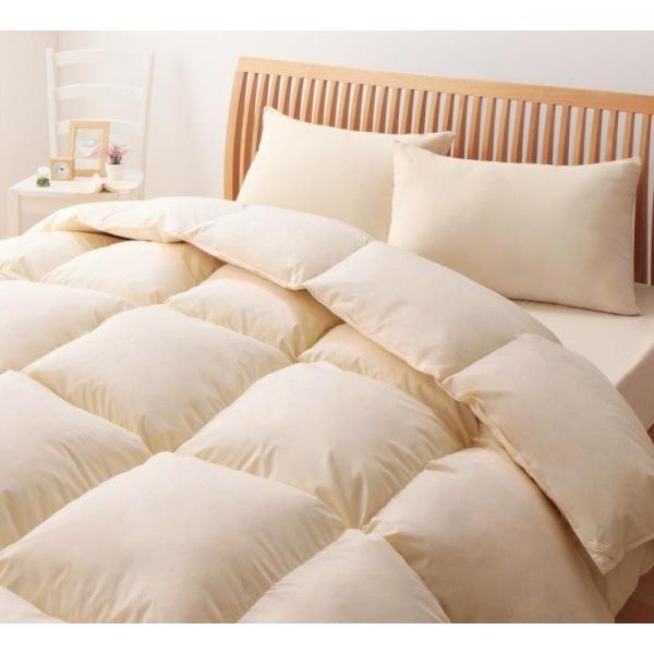 グースダウンタイプ 羽毛布団セット ベッド用8点 セミダブル 色-アイボリー