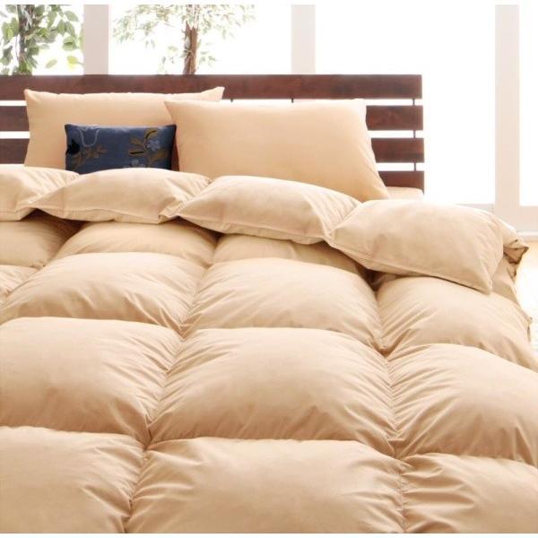 グースダウンタイプ 羽毛布団セット ベッド用8点 セミダブル 色-ナチュラルベージュ