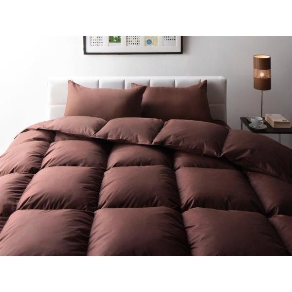 羽根布団セット ベッド用10点 キング 色-モカブラウン