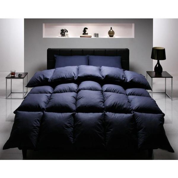 布団セット ベッド用10点 ダブル 色-ミッドナイトブルー /シンサレート高機能中綿素材入り 暖かい