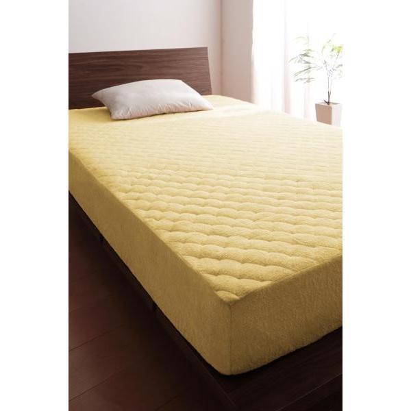 タオル地 敷きパッド一体型ボックスシーツ の同色2枚セット クイーン 色-ミルキーイエロー /綿100%パイル