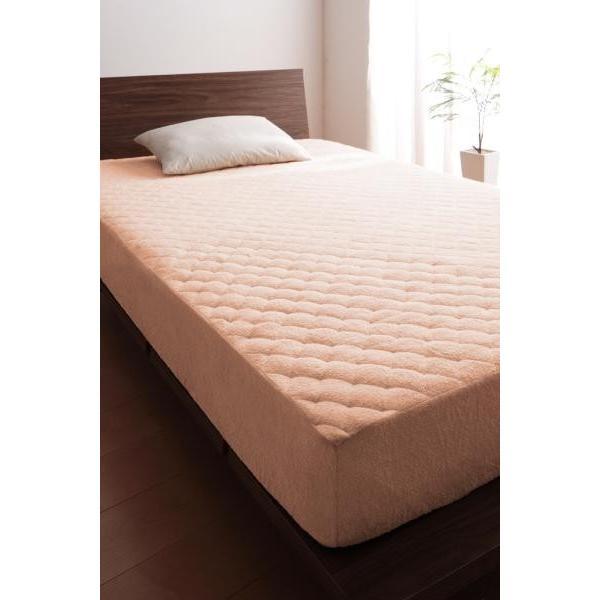 タオル地 敷きパッド一体型ボックスシーツ の同色2枚セット クイーン 色-さくら /綿100%パイル
