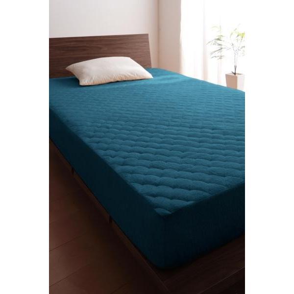 タオル地 敷きパッド一体型ボックスシーツ の同色2枚セット クイーン 色-ブルーグリーン /綿100%パイル